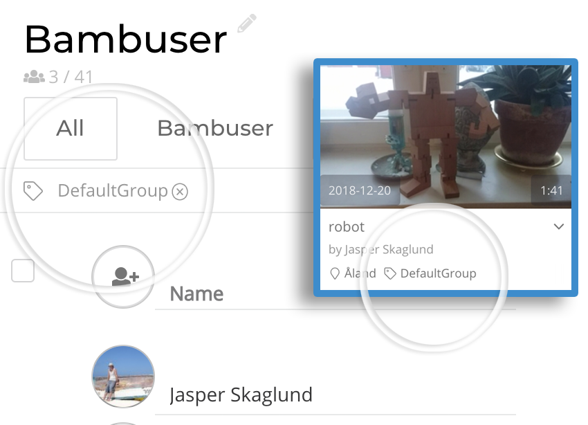 Bambuser group tags