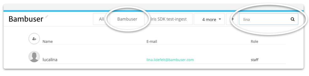 Bambuser user search