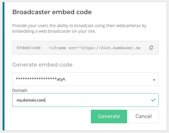 Bambuser broadcaster embed code generator